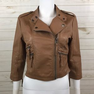 <Ali & Kris> Vegan Bomber Moto Jacket Faux Leather